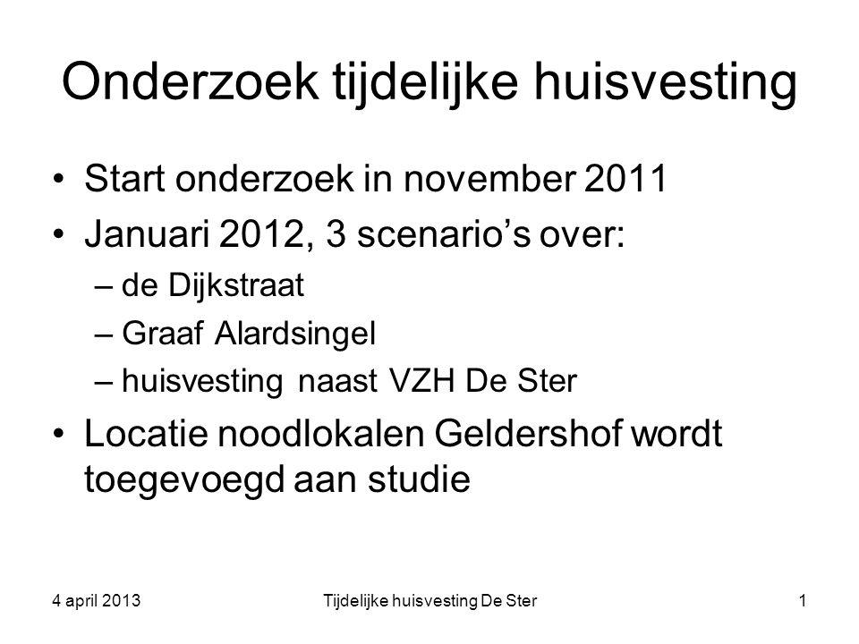 Onderzoek tijdelijke huisvesting Start onderzoek in november 2011 Januari 2012, 3 scenario's over: –de Dijkstraat –Graaf Alardsingel –huisvesting naas