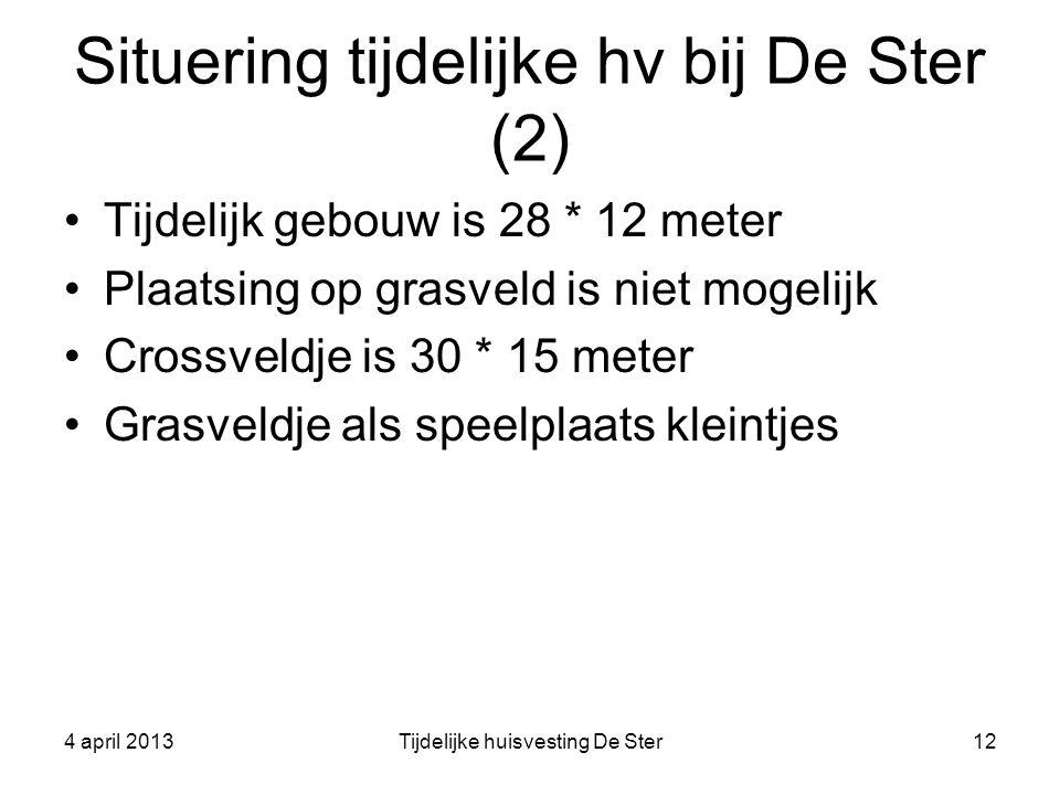 Situering tijdelijke hv bij De Ster (2) Tijdelijk gebouw is 28 * 12 meter Plaatsing op grasveld is niet mogelijk Crossveldje is 30 * 15 meter Grasveld