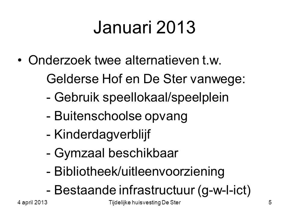 Januari 2013 Onderzoek twee alternatieven t.w. Gelderse Hof en De Ster vanwege: - Gebruik speellokaal/speelplein - Buitenschoolse opvang - Kinderdagve
