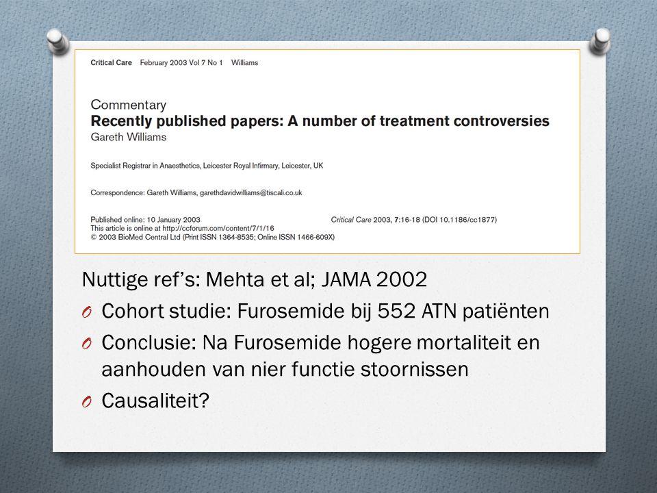 De stukken Nuttige ref's: Mehta et al; JAMA 2002 O Cohort studie: Furosemide bij 552 ATN patiënten O Conclusie: Na Furosemide hogere mortaliteit en aa
