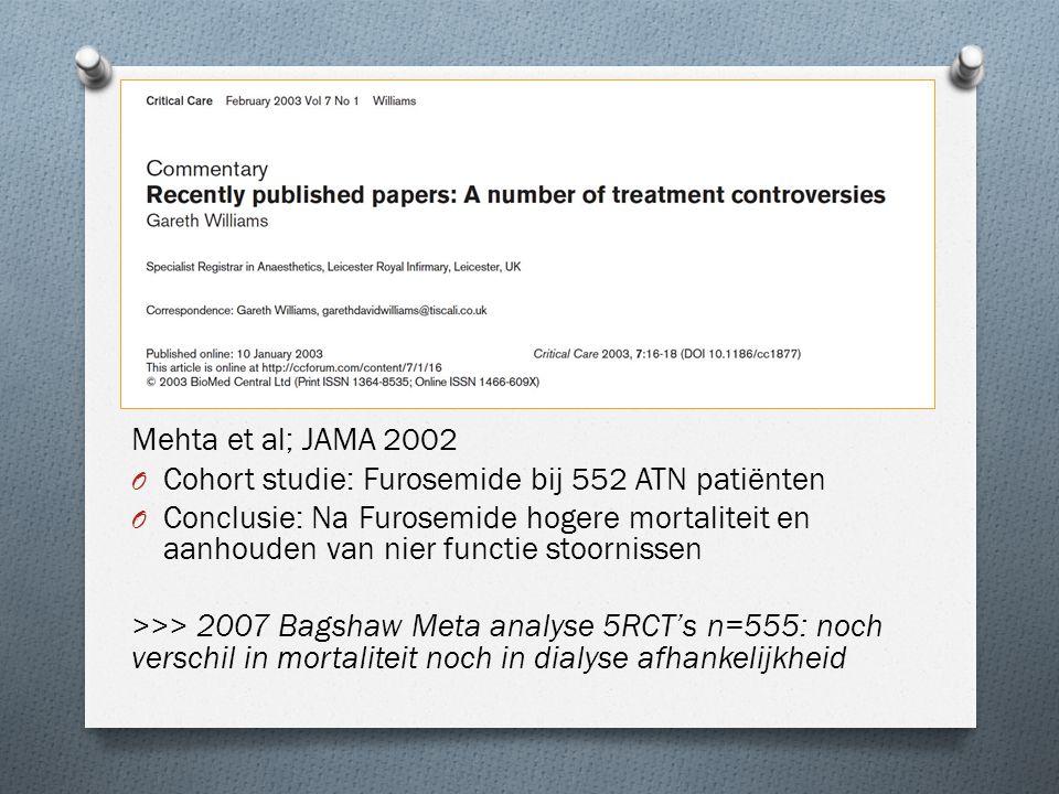 De stukken Mehta et al; JAMA 2002 O Cohort studie: Furosemide bij 552 ATN patiënten O Conclusie: Na Furosemide hogere mortaliteit en aanhouden van nie