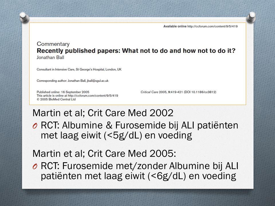 De stukken Martin et al; Crit Care Med 2002 O RCT: Albumine & Furosemide bij ALI patiënten met laag eiwit (<5g/dL) en voeding Martin et al; Crit Care