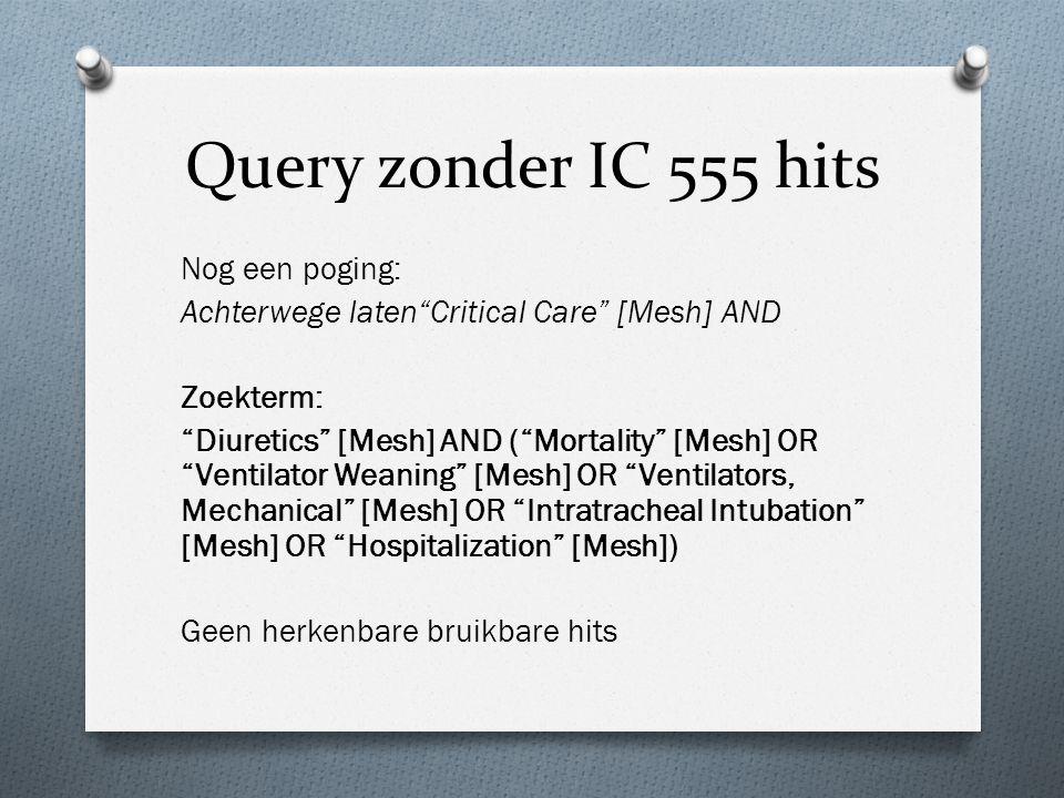"Query zonder IC 555 hits Nog een poging: Achterwege laten""Critical Care"" [Mesh] AND Zoekterm: ""Diuretics"" [Mesh] AND (""Mortality"" [Mesh] OR ""Ventilato"