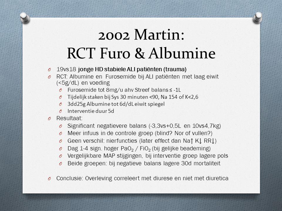 2002 Martin: RCT Furo & Albumine O 19vs18 jonge HD stabiele ALI patiënten (trauma) O RCT: Albumine en Furosemide bij ALI patiënten met laag eiwit (<5g