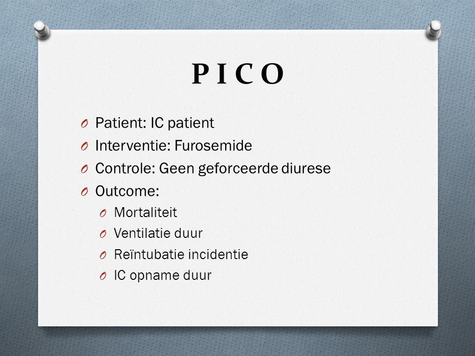 P I C O O Patient: IC patient O Interventie: Furosemide O Controle: Geen geforceerde diurese O Outcome: O Mortaliteit O Ventilatie duur O Reïntubatie