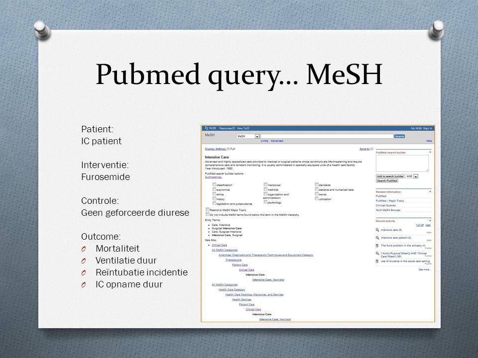 Pubmed query… MeSH Patient: IC patient Interventie: Furosemide Controle: Geen geforceerde diurese Outcome: O Mortaliteit O Ventilatie duur O Reïntubat