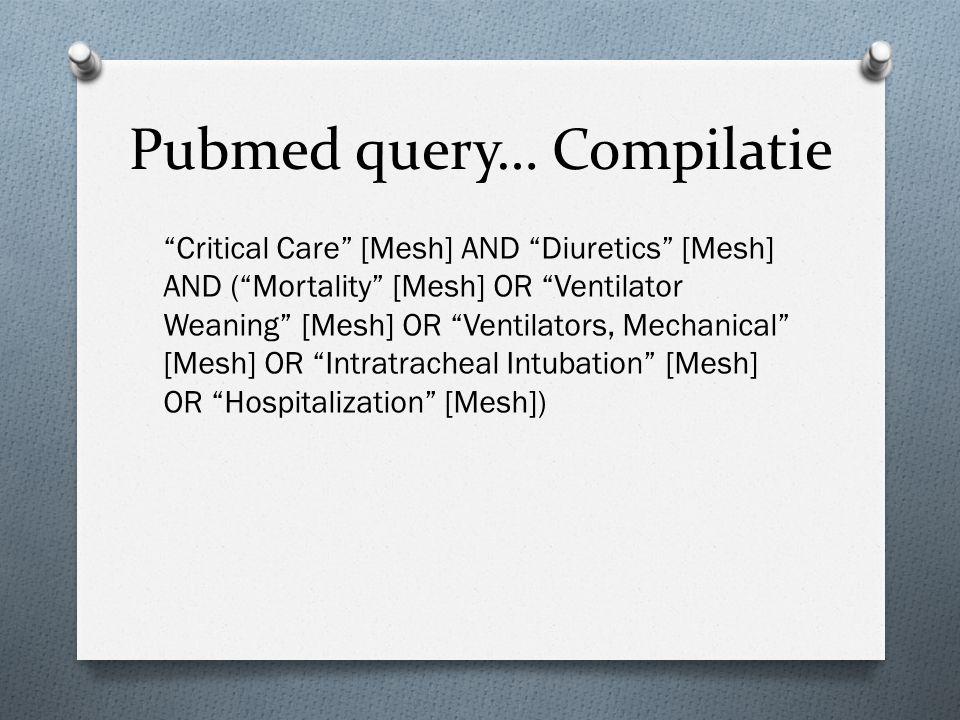 "Pubmed query… Compilatie ""Critical Care"" [Mesh] AND ""Diuretics"" [Mesh] AND (""Mortality"" [Mesh] OR ""Ventilator Weaning"" [Mesh] OR ""Ventilators, Mechani"