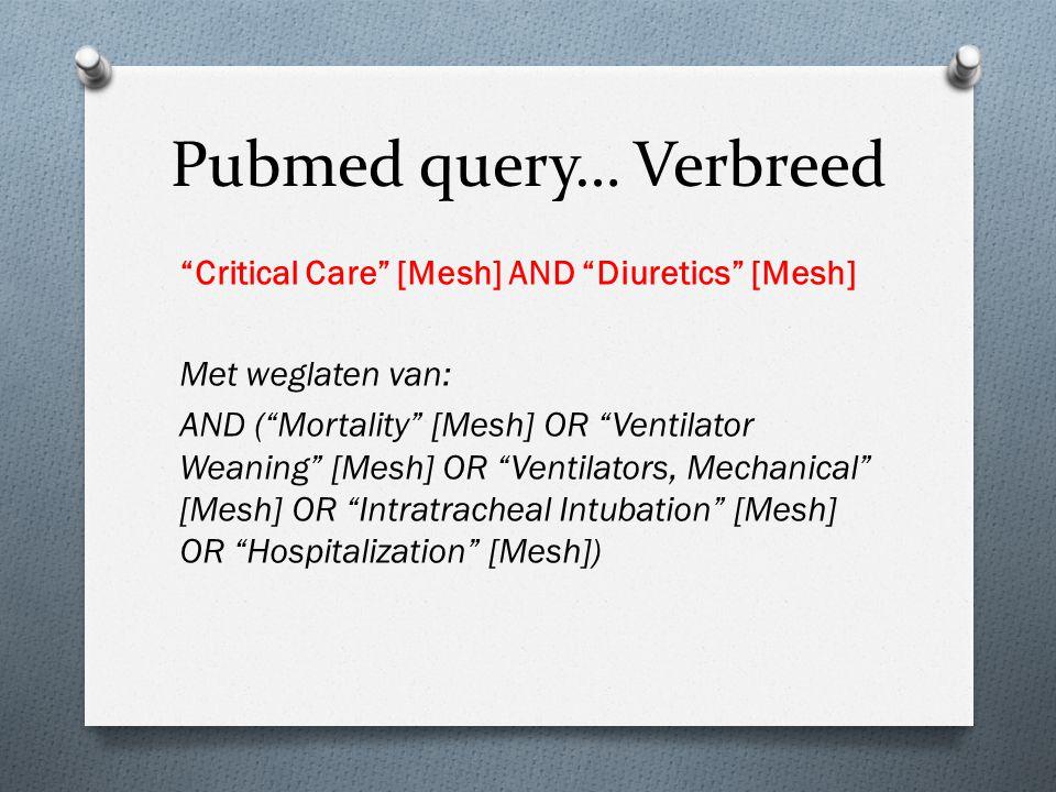 "Pubmed query… Verbreed ""Critical Care"" [Mesh] AND ""Diuretics"" [Mesh] Met weglaten van: AND (""Mortality"" [Mesh] OR ""Ventilator Weaning"" [Mesh] OR ""Vent"