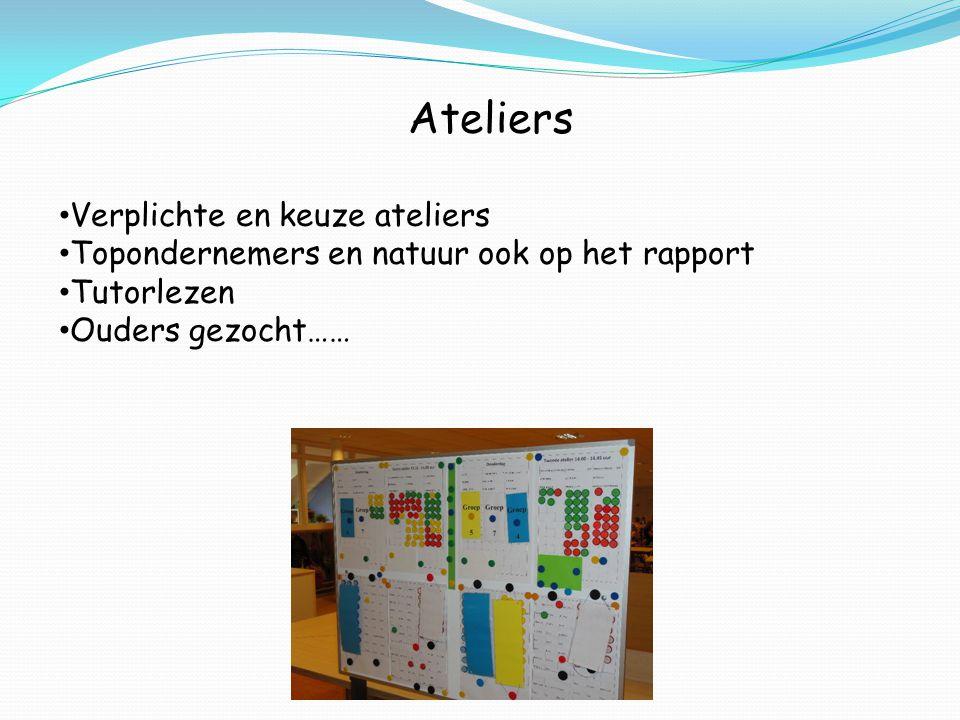 Ateliers Verplichte en keuze ateliers Topondernemers en natuur ook op het rapport Tutorlezen Ouders gezocht……
