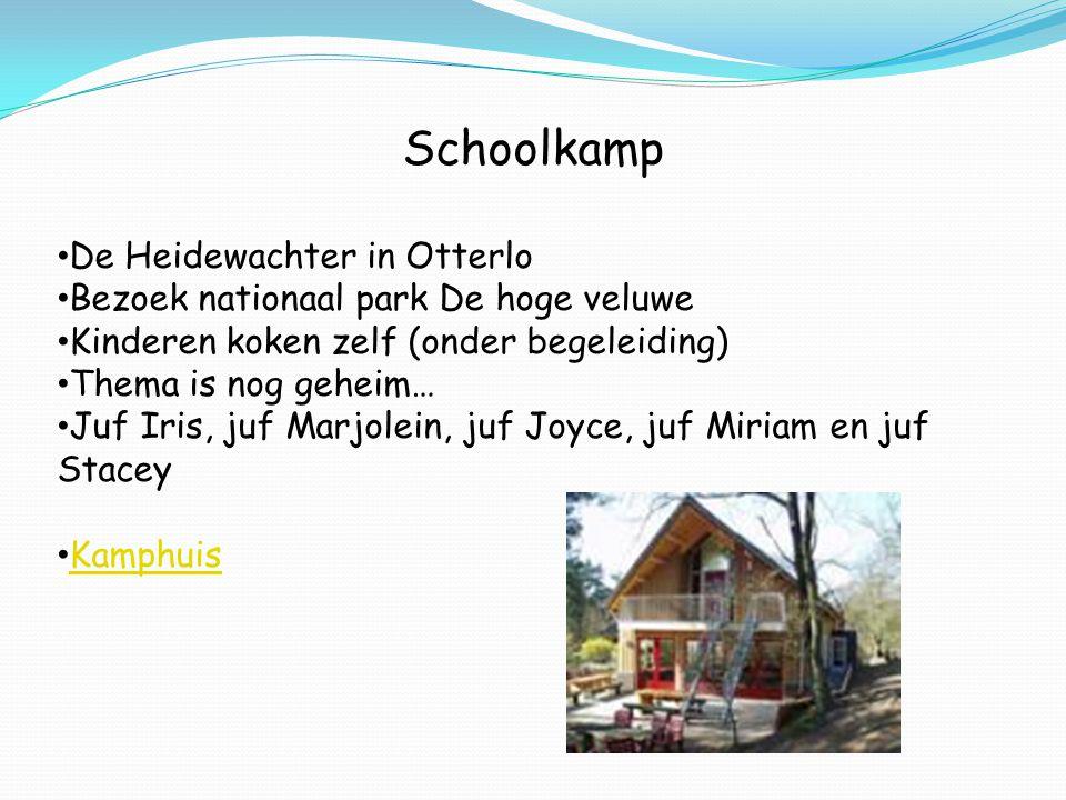 Schoolkamp De Heidewachter in Otterlo Bezoek nationaal park De hoge veluwe Kinderen koken zelf (onder begeleiding) Thema is nog geheim… Juf Iris, juf