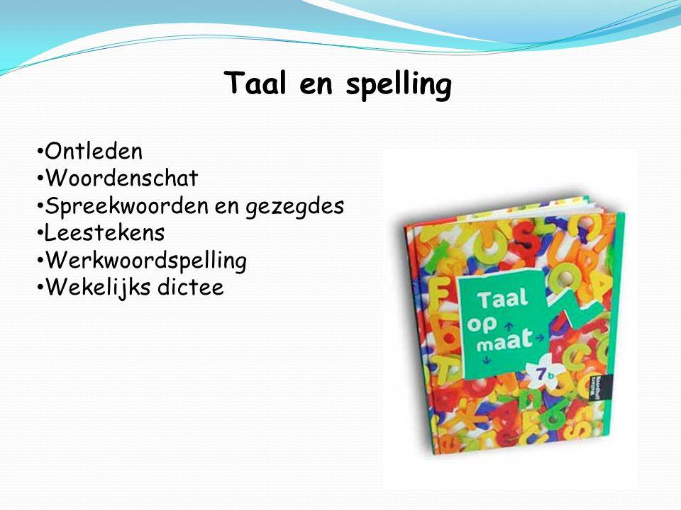 Taal en spelling Ontleden Woordenschat Spreekwoorden en gezegdes Leestekens Werkwoordspelling Wekelijks dictee