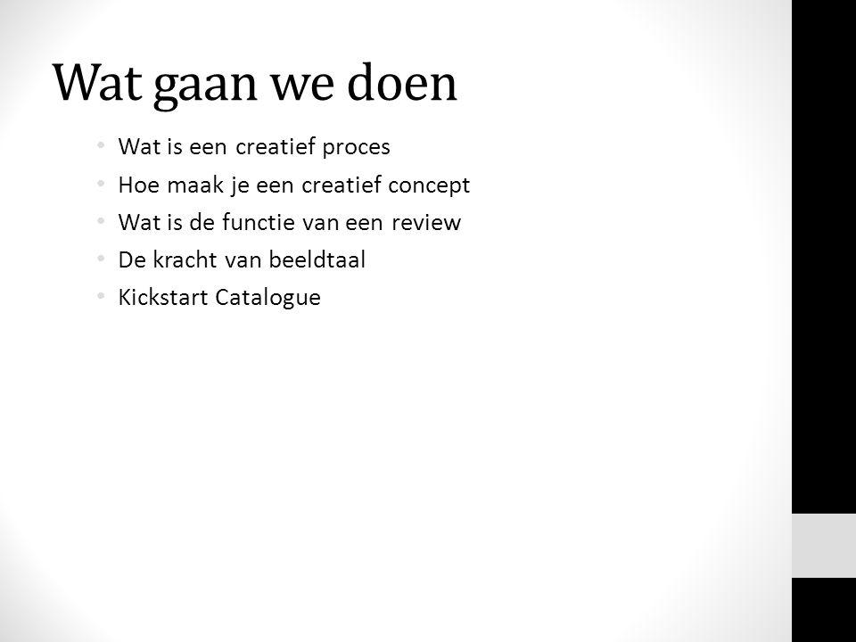 Wat gaan we doen Wat is een creatief proces Hoe maak je een creatief concept Wat is de functie van een review De kracht van beeldtaal Kickstart Catalogue