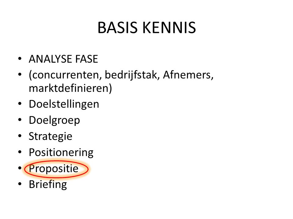 BASIS KENNIS ANALYSE FASE (concurrenten, bedrijfstak, Afnemers, marktdefinieren) Doelstellingen Doelgroep Strategie Positionering Propositie Briefing