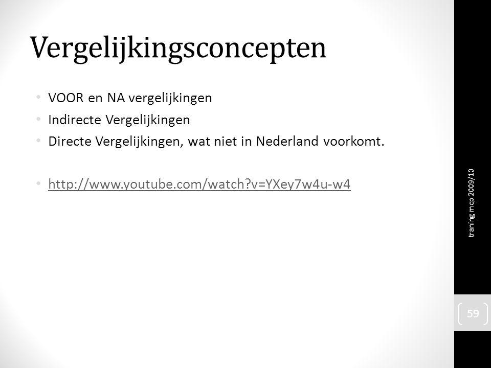 Vergelijkingsconcepten VOOR en NA vergelijkingen Indirecte Vergelijkingen Directe Vergelijkingen, wat niet in Nederland voorkomt. http://www.youtube.c