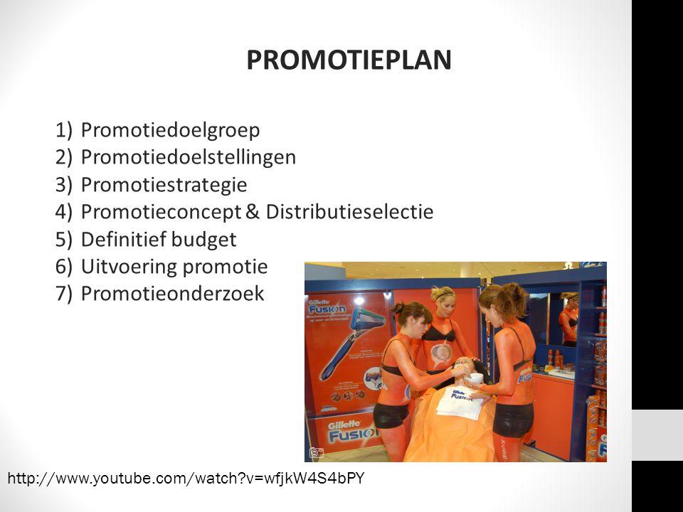 PROMOTIEPLAN 1)Promotiedoelgroep 2)Promotiedoelstellingen 3)Promotiestrategie 4)Promotieconcept & Distributieselectie 5)Definitief budget 6)Uitvoering promotie 7)Promotieonderzoek http://www.youtube.com/watch?v=wfjkW4S4bPY