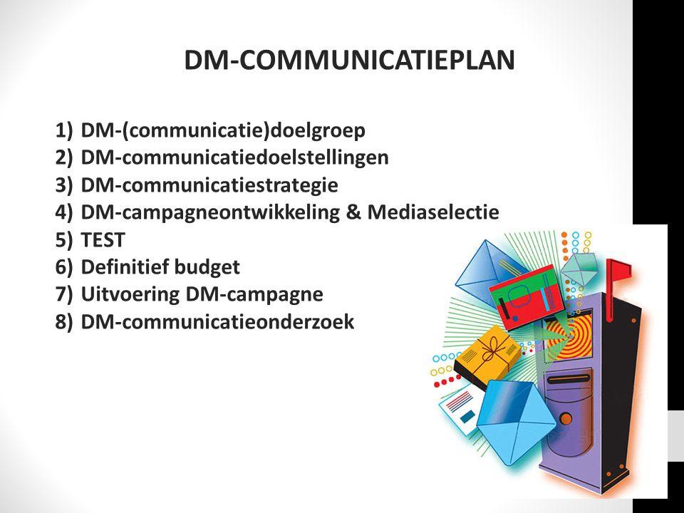 DM-COMMUNICATIEPLAN 1)DM-(communicatie)doelgroep 2)DM-communicatiedoelstellingen 3)DM-communicatiestrategie 4)DM-campagneontwikkeling & Mediaselectie 5)TEST 6)Definitief budget 7)Uitvoering DM-campagne 8)DM-communicatieonderzoek