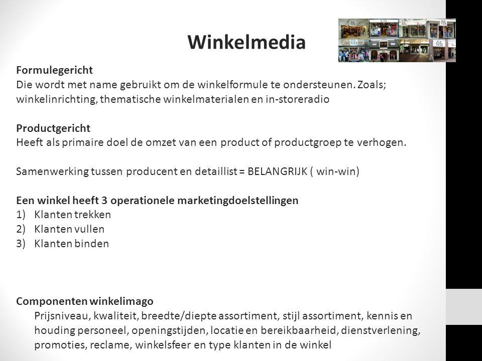 Winkelmedia Formulegericht Die wordt met name gebruikt om de winkelformule te ondersteunen. Zoals; winkelinrichting, thematische winkelmaterialen en i