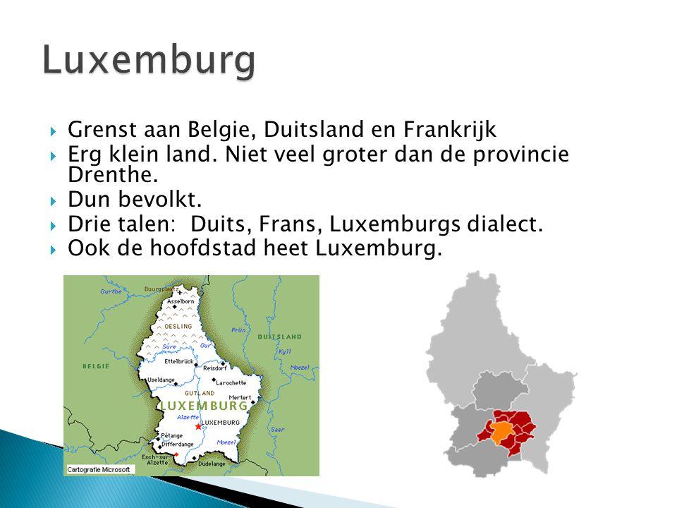  Grenst aan Belgie, Duitsland en Frankrijk  Erg klein land. Niet veel groter dan de provincie Drenthe.  Dun bevolkt.  Drie talen: Duits, Frans, Lu