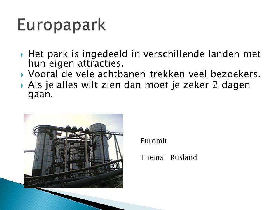  Het park is ingedeeld in verschillende landen met hun eigen attracties.  Vooral de vele achtbanen trekken veel bezoekers.  Als je alles wilt zien