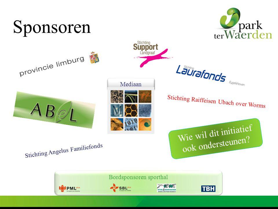 Bordsponsoren sporthal Mediaan Sponsoren Wie wil dit initiatief ook ondersteunen? Stichting Angelus Familiefonds Stichting Raiffeisen Ubach over Worms