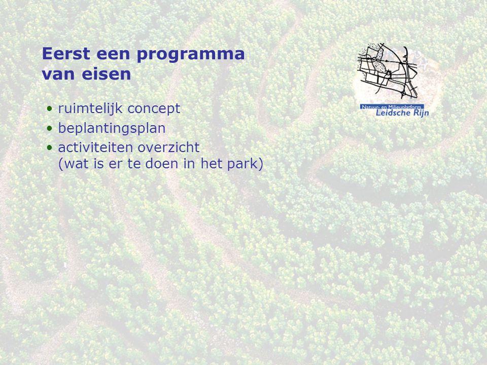 Eerst een programma van eisen ruimtelijk concept beplantingsplan activiteiten overzicht (wat is er te doen in het park)