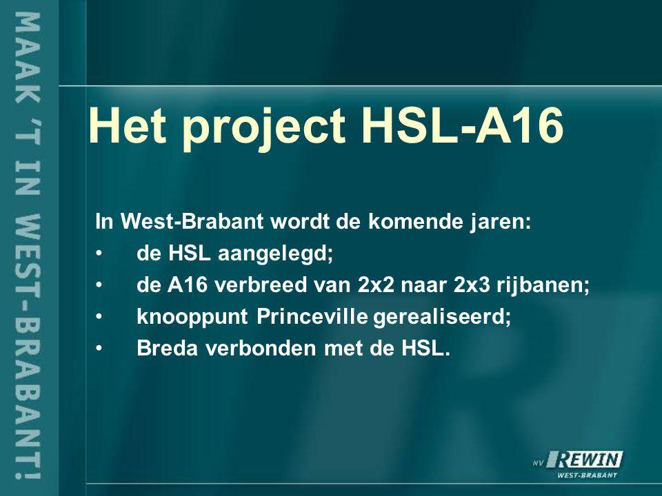 Het project HSL-A16 In West-Brabant wordt de komende jaren: de HSL aangelegd; de A16 verbreed van 2x2 naar 2x3 rijbanen; knooppunt Princeville gerealiseerd; Breda verbonden met de HSL.