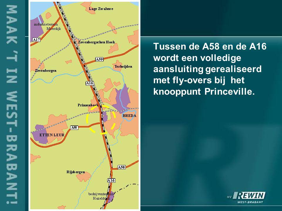 Tussen de A58 en de A16 wordt een volledige aansluiting gerealiseerd met fly-overs bij het knooppunt Princeville.