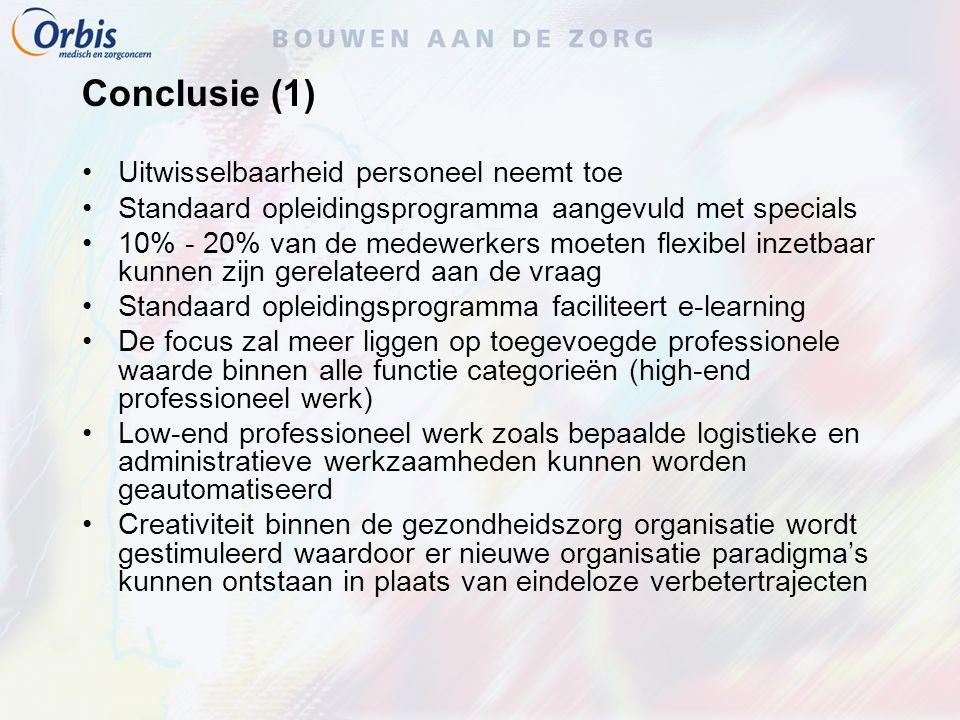Conclusie (1) Uitwisselbaarheid personeel neemt toe Standaard opleidingsprogramma aangevuld met specials 10% - 20% van de medewerkers moeten flexibel