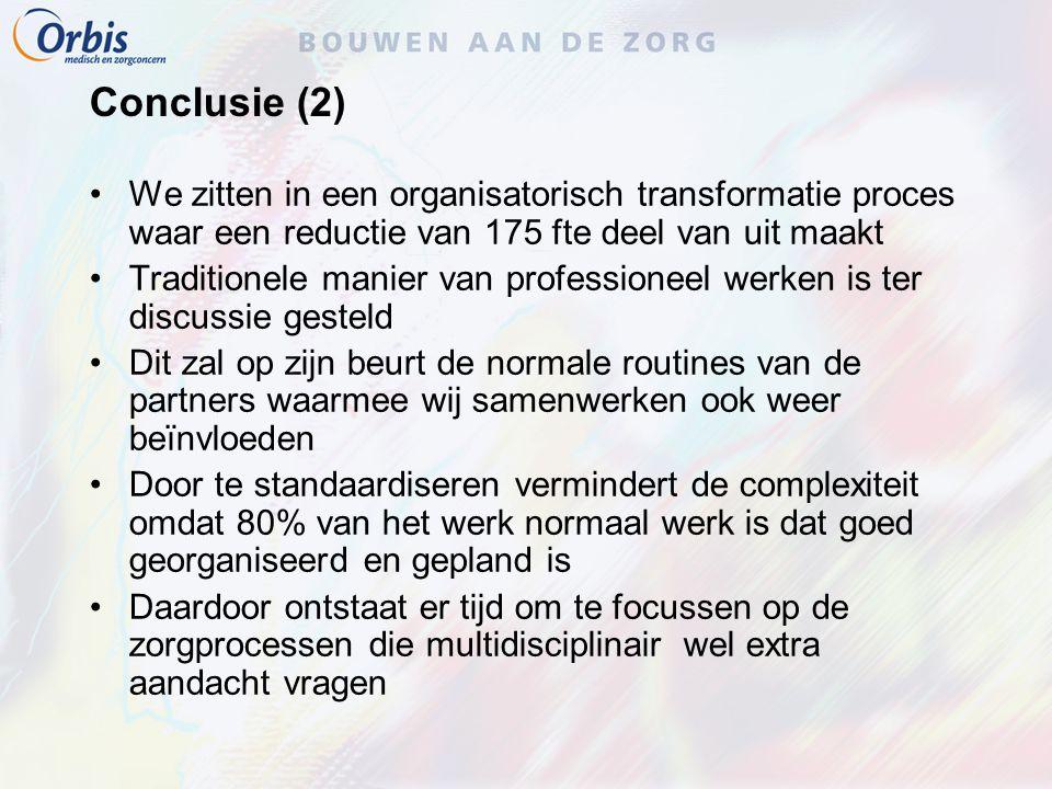 Conclusie (2) We zitten in een organisatorisch transformatie proces waar een reductie van 175 fte deel van uit maakt Traditionele manier van professio