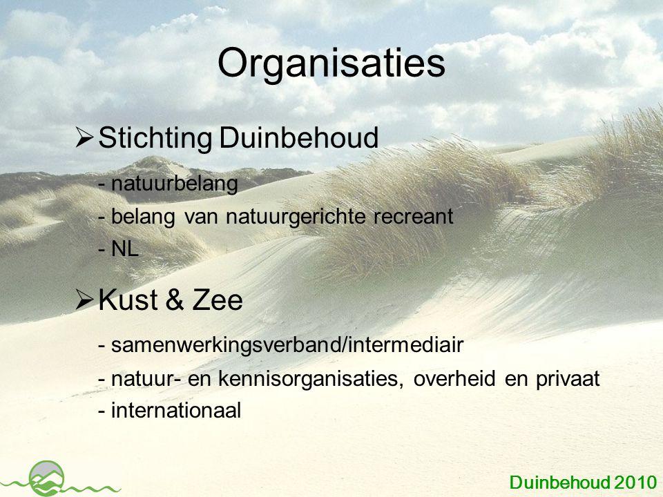Organisaties  Stichting Duinbehoud - natuurbelang - belang van natuurgerichte recreant - NL  Kust & Zee - samenwerkingsverband/intermediair - natuur- en kennisorganisaties, overheid en privaat - internationaal Duinbehoud 2010