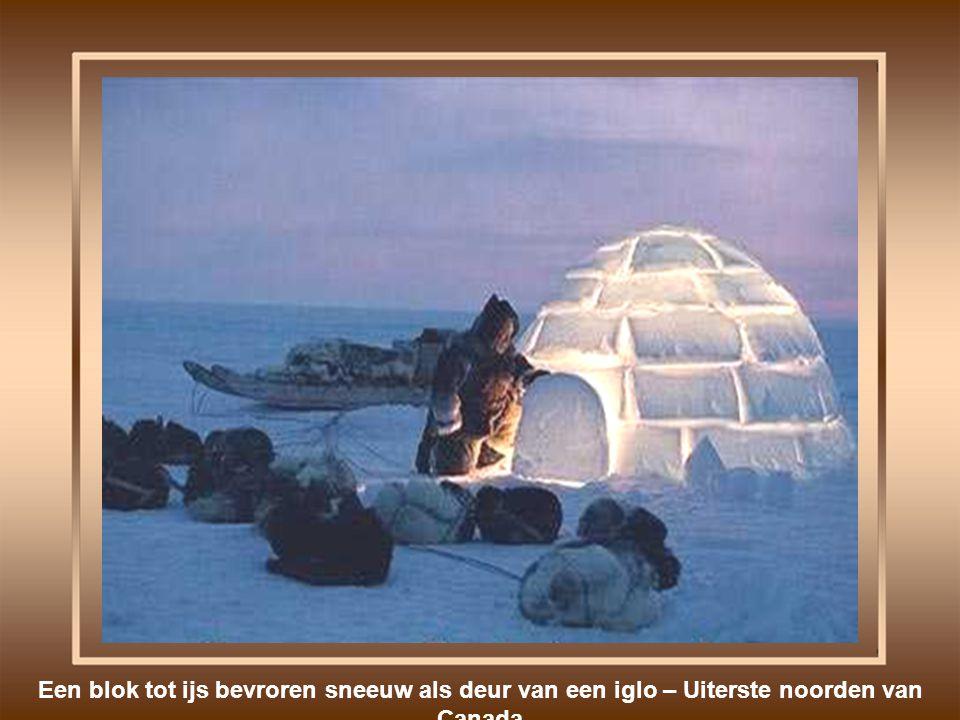 Een blok tot ijs bevroren sneeuw als deur van een iglo – Uiterste noorden van Canada