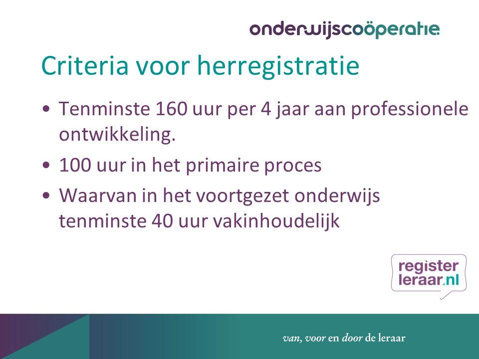 Criteria voor herregistratie Tenminste 160 uur per 4 jaar aan professionele ontwikkeling.