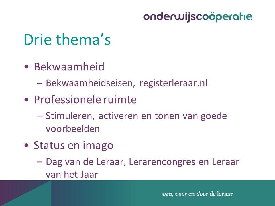 Drie thema's Bekwaamheid –Bekwaamheidseisen, registerleraar.nl Professionele ruimte –Stimuleren, activeren en tonen van goede voorbeelden Status en imago –Dag van de Leraar, Lerarencongres en Leraar van het Jaar