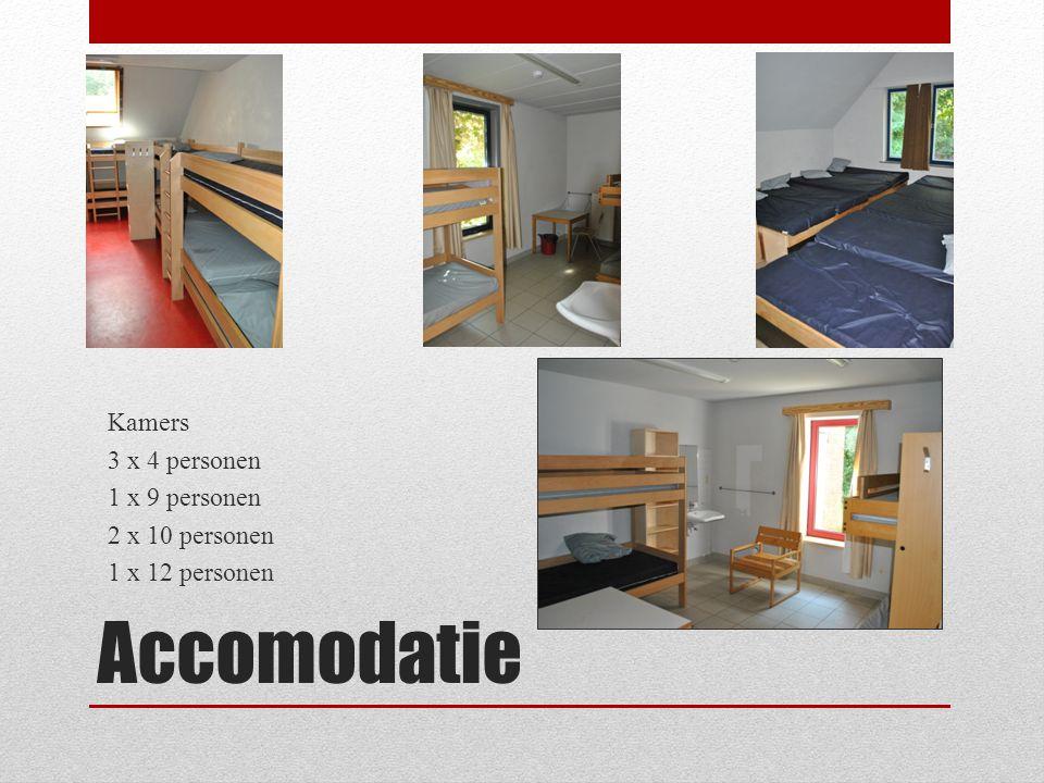 Accomodatie Kamers 3 x 4 personen 1 x 9 personen 2 x 10 personen 1 x 12 personen