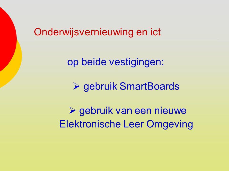 op beide vestigingen:  gebruik SmartBoards  gebruik van een nieuwe Elektronische Leer Omgeving Onderwijsvernieuwing en ict
