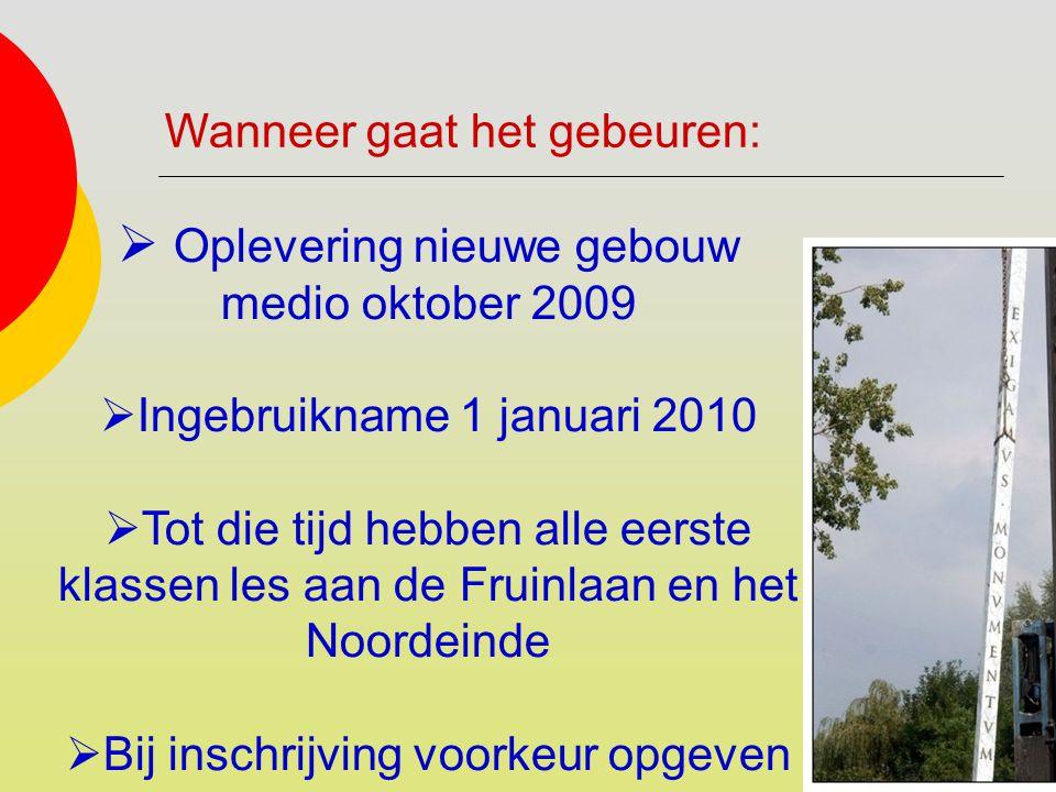  Oplevering nieuwe gebouw medio oktober 2009  Ingebruikname 1 januari 2010  Tot die tijd hebben alle eerste klassen les aan de Fruinlaan en het Noo