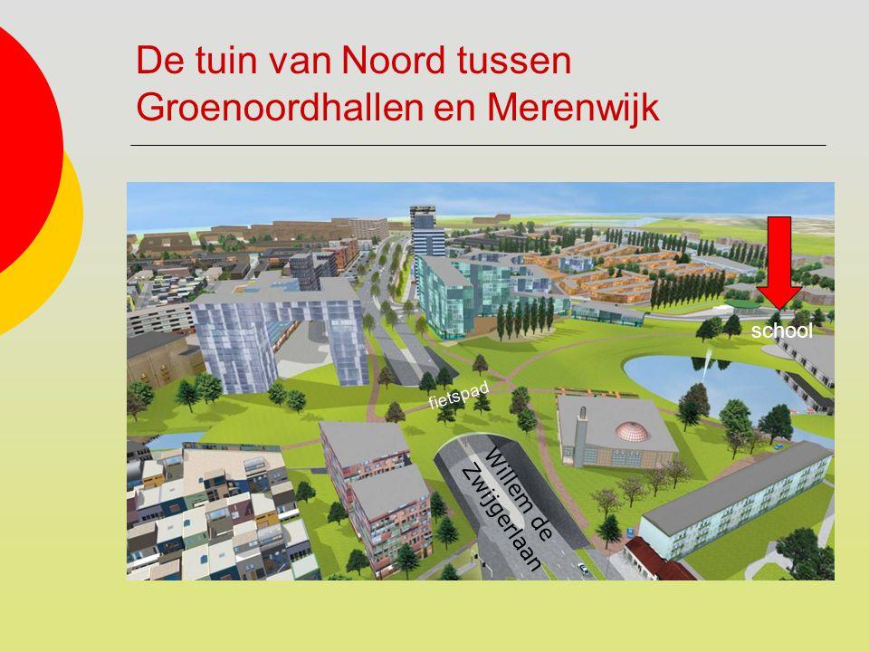 De tuin van Noord tussen Groenoordhallen en Merenwijk Willem de Zwijgerlaan fietspad school