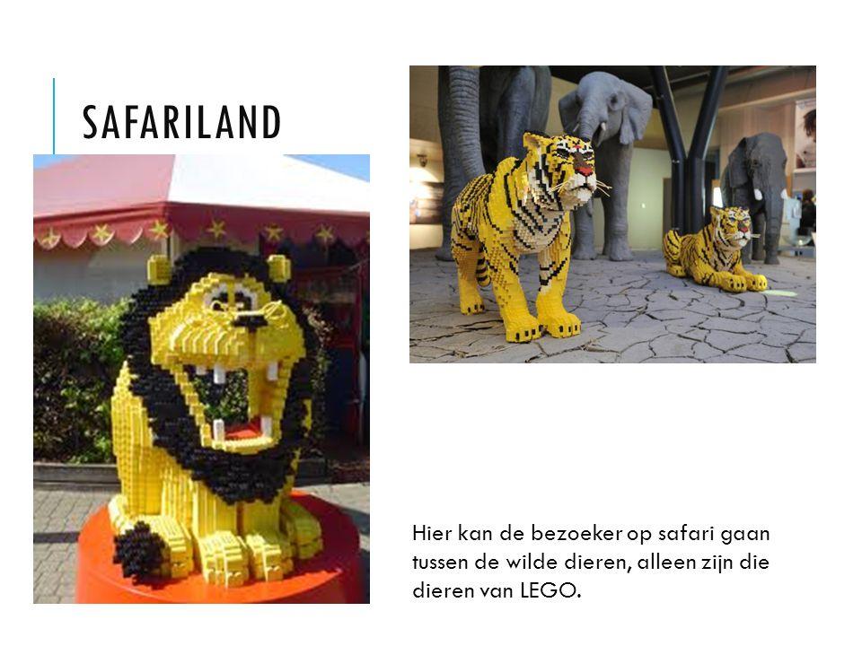 SAFARILAND Hier kan de bezoeker op safari gaan tussen de wilde dieren, alleen zijn die dieren van LEGO.