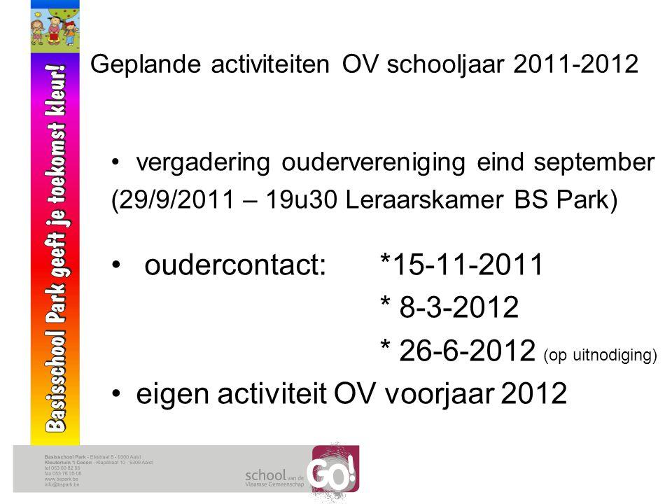 Geplande activiteiten OV schooljaar 2011-2012 vergadering oudervereniging eind september (29/9/2011 – 19u30 Leraarskamer BS Park) oudercontact: *15-11-2011 * 8-3-2012 * 26-6-2012 (op uitnodiging) eigen activiteit OV voorjaar 2012