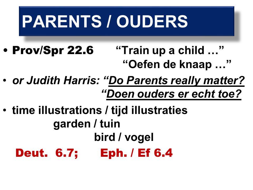 Prov/Spr 22.6 Train up a child … Oefen de knaap … or Judith Harris: Do Parents really matter.