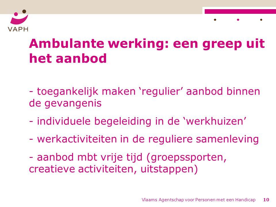 Vlaams Agentschap voor Personen met een Handicap10 Ambulante werking: een greep uit het aanbod - toegankelijk maken 'regulier' aanbod binnen de gevang