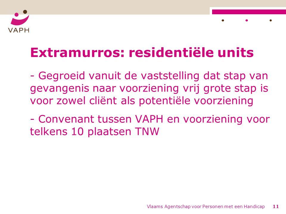 Vlaams Agentschap voor Personen met een Handicap11 Extramurros: residentiële units - Gegroeid vanuit de vaststelling dat stap van gevangenis naar voorziening vrij grote stap is voor zowel cliënt als potentiële voorziening - Convenant tussen VAPH en voorziening voor telkens 10 plaatsen TNW