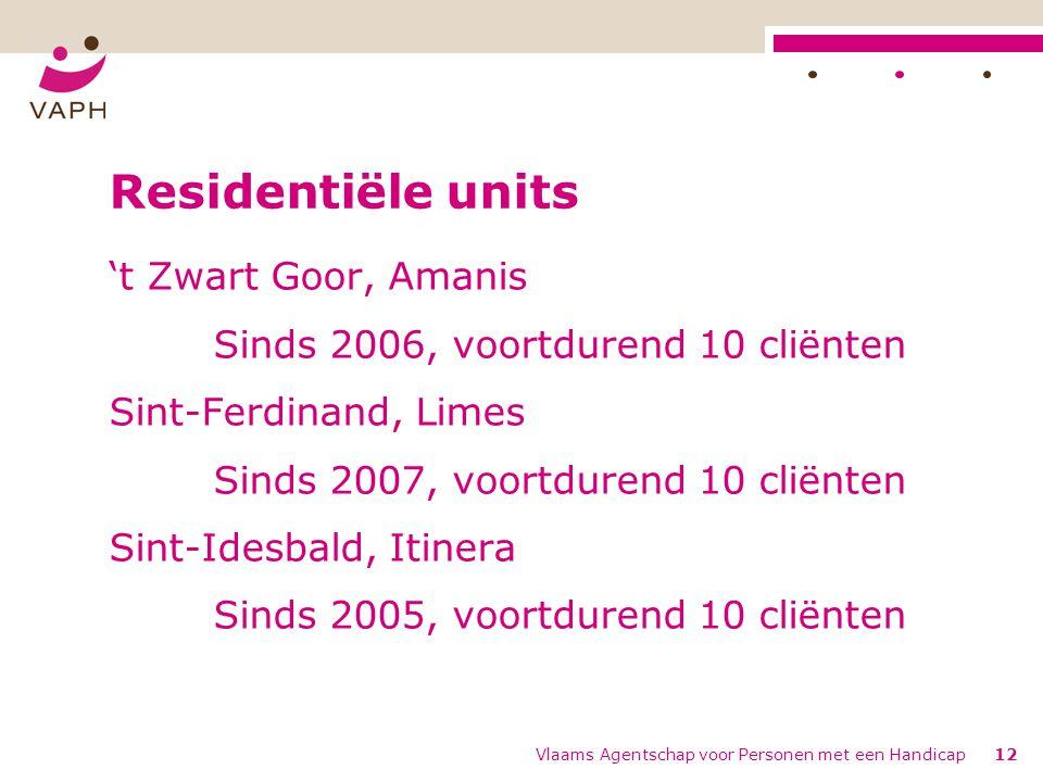 Vlaams Agentschap voor Personen met een Handicap12 Residentiële units 't Zwart Goor, Amanis Sinds 2006, voortdurend 10 cliënten Sint-Ferdinand, Limes