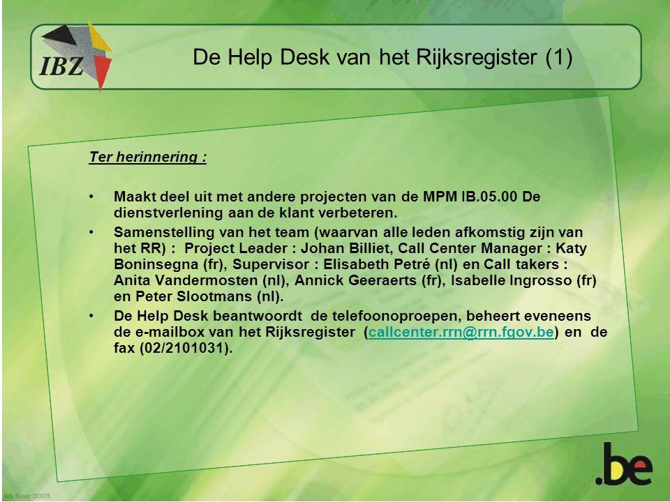 De Help Desk van het Rijksregister (1) Ter herinnering : Maakt deel uit met andere projecten van de MPM IB.05.00 De dienstverlening aan de klant verbeteren.