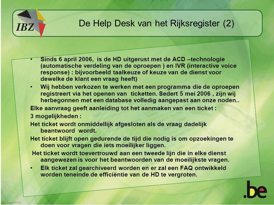 De Help Desk van het Rijksregister (2) Sinds 6 april 2006, is de HD uitgerust met de ACD –technologie (automatische verdeling van de oproepen ) en IVR