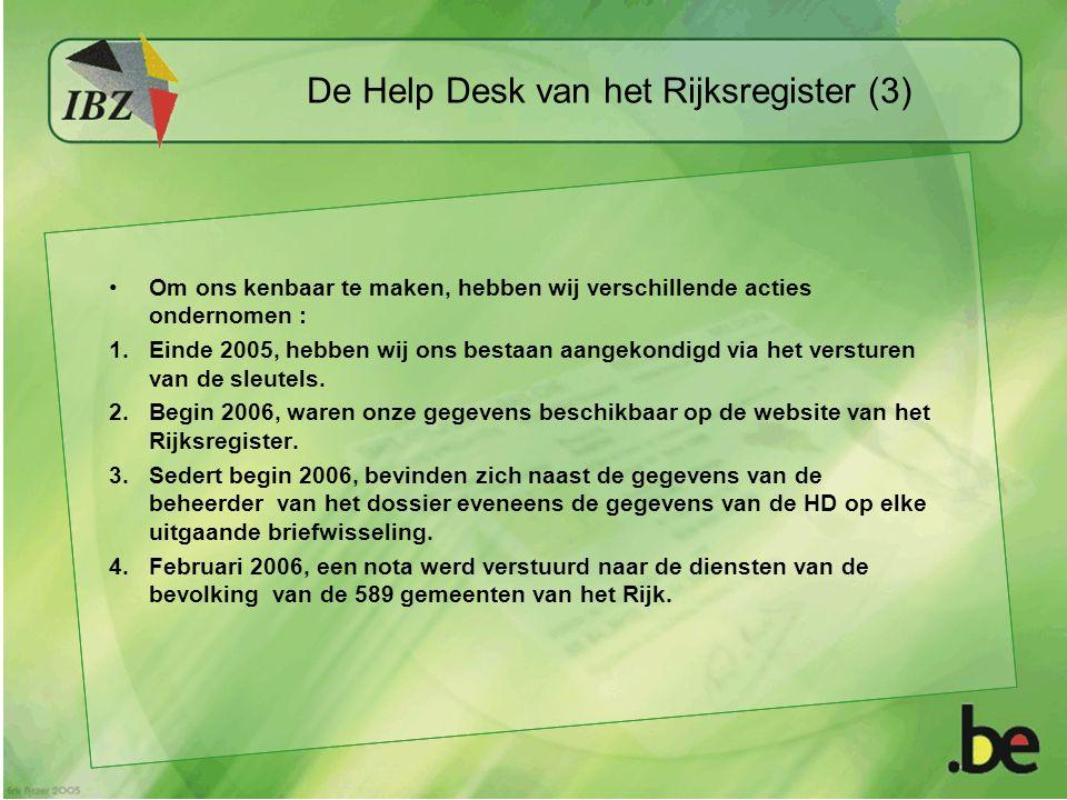 De Help Desk van het Rijksregister (3) Om ons kenbaar te maken, hebben wij verschillende acties ondernomen : 1.Einde 2005, hebben wij ons bestaan aang
