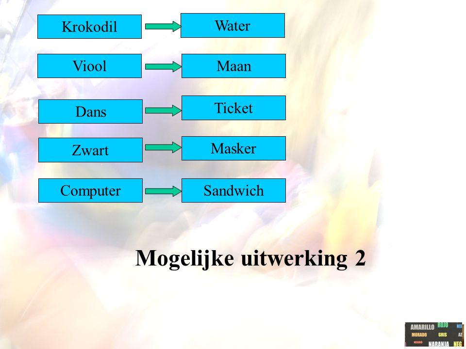 Mogelijke uitwerking 2 Krokodil Viool Dans Masker Ticket Maan Water Zwart SandwichComputer