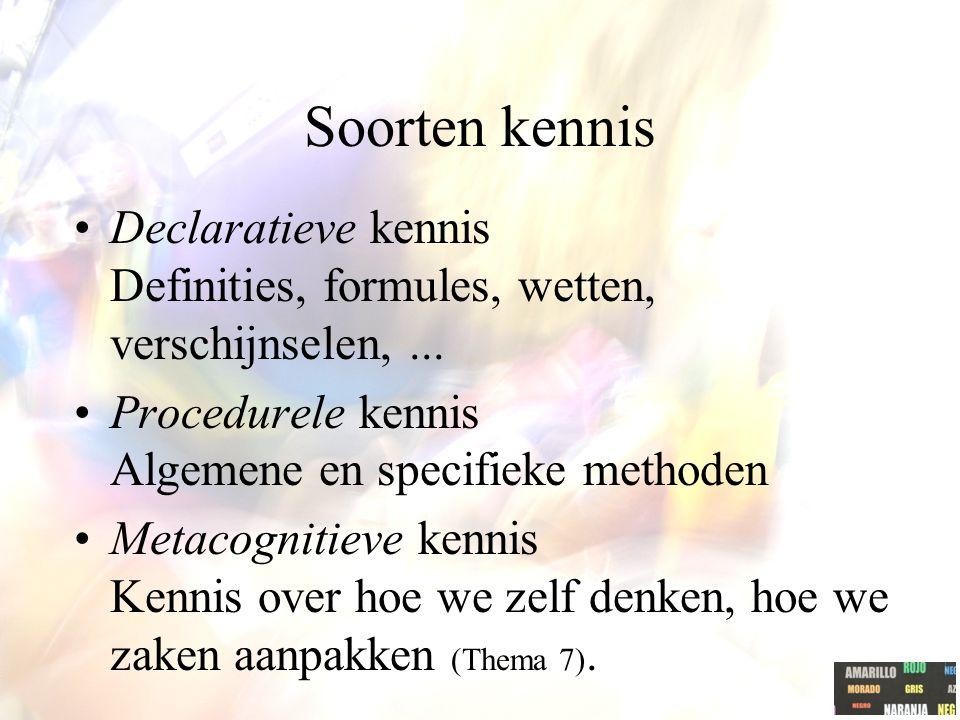 Soorten kennis Declaratieve kennis Definities, formules, wetten, verschijnselen,... Procedurele kennis Algemene en specifieke methoden Metacognitieve
