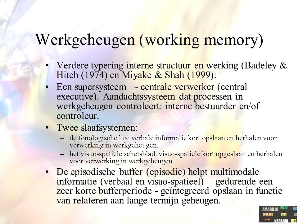Werkgeheugen (working memory) Verdere typering interne structuur en werking (Badeley & Hitch (1974) en Miyake & Shah (1999): Een supersysteem ~ centra
