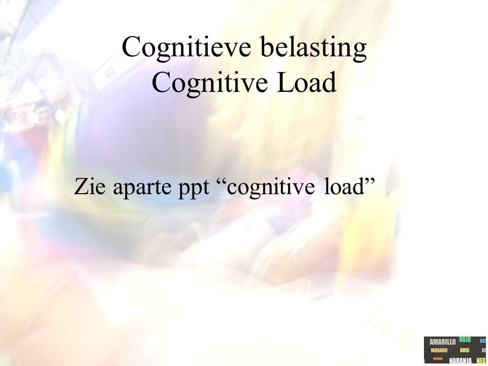 "Cognitieve belasting Cognitive Load Zie aparte ppt ""cognitive load"""